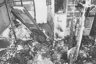 画像:ゴキブリによるトラッキング現象で焼失した部屋