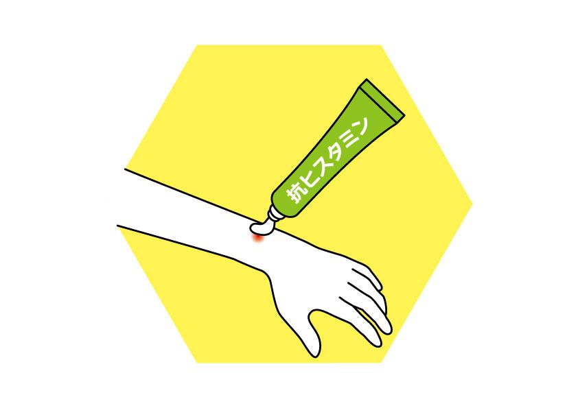 ステップ3 抗ヒスタミン軟膏を塗る