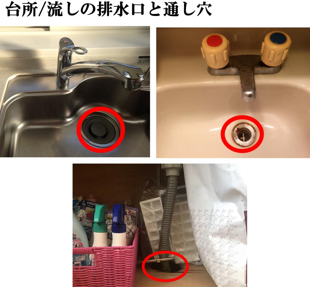 台所/流しの排水溝と通し穴